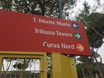 Entrances to the Olympic Stadium in Rome, Italy. Arrow signs of Monte Mario Tribune, Tevere Tribune and North Curve entrances to the Olympic Stadium. The Stadio Stock Image