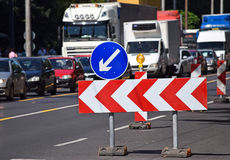Arrow signs at the road construction Royalty Free Stock Image