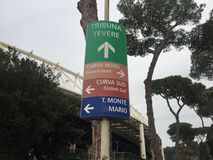Entrances to the Olympic Stadium in Rome. Arrow signs of Tevere Tribune, North Curve, South Curve and Monte Mario Tribune entrances to the Olympic Stadium. The Royalty Free Stock Photo