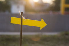 Arrow. Signs yellow arrow on the branches Royalty Free Stock Photos