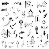 Arrow sketch of hand drawing vector set Royalty Free Stock Photography