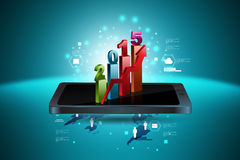 Arrow with smart phone Stock Photo