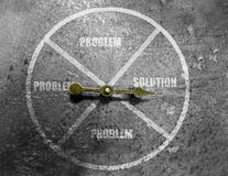 Arrow solution and problem circle Royalty Free Stock Images