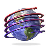 Arrow spiral around the Earth Royalty Free Stock Images