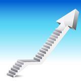 Arrow Stair. Illustration of stair in shape of upward arrow on abstract background royalty free illustration