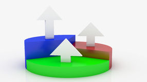 Arrow statistic. White Arrow statistic on blue,red,green pie Royalty Free Stock Image