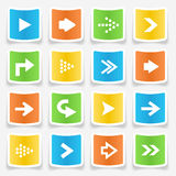 Arrow Sticker Icons. Colorful square arrow sticker icons Stock Photography