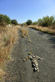 Arrow of stones on the Camino de Santiago, Spain, Way to Santiago Royalty Free Stock Images