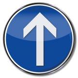 Arrow straight ahead. On this street Stock Image