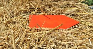 Arrow in the straw. A red, wooden arrow in the straw shows you the way Royalty Free Stock Photos