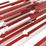 Arrow Stream. Mass of red and white 3d arrows Royalty Free Stock Images