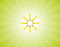Arrow sun. The sun made out of arrows on the tricky green background Royalty Free Stock Photography
