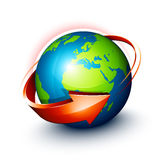 Arrow surrounding Earth. A red orange arrow surrounding the Earth Royalty Free Stock Image