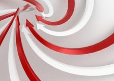 Arrow Swirl Rise. Red and white 3d arrows Stock Images