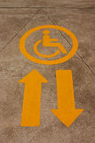 Arrow symbol for disabled wheelchair passenger. Stock Photo