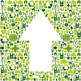 Arrow symbol in environment care icons. Green icons collection background in up arrow symbol. Vector file available Stock Photos