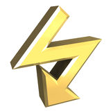 Arrow symbol in gold - 3D. Made Royalty Free Stock Photo