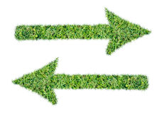Arrow symbol from green grass isolated Royalty Free Stock Photo