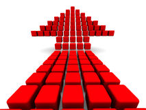 Arrow symbol from red cubes Royalty Free Stock Photo