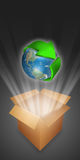 Arrow symbolizing recycling circling the globe Royalty Free Stock Image