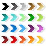 Arrow symbols. Black, grey, silver, dark, golden, cyan, turquoise, blue, green, purple, red, orange and yellow label. Simple arrow Stock Photo