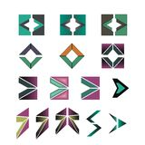 Arrow symbols. Set of different arrow symbols or logos stock illustration