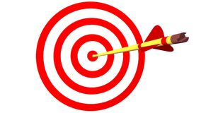 Arrow on Target. In 3D Royalty Free Stock Image