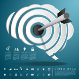 Arrow on target brain with business icon. Vector Stock Photo