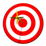 Arrow in Target Bullseye. Golden arrow hitting bullseye on target isolated on a white background Stock Photos