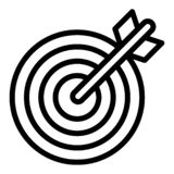 Arrow target icon, outline style stock illustration