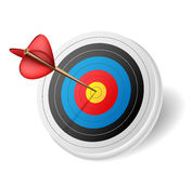 Arrow in target. Red Arrow in the middle of a target Stock Image
