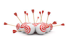 Arrow in targets 3D. Success hitting. Business concept.  on white Stock Photos
