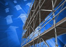 Arrow technology interface with 3D Scaffolding Stock Photography