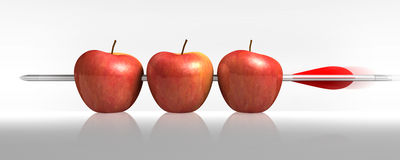 Arrow three apples a hit in White stock photography