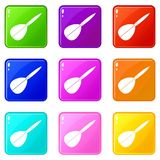 Arrow to play dart set 9. Arrow to play dart icons of 9 color set isolated vector illustration stock illustration