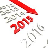 Arrow to year 2015 Royalty Free Stock Image