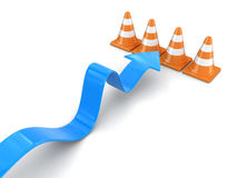 Arrow and traffic cones Royalty Free Stock Photo