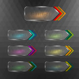 Arrow transparent banners. Vector illustration of different transparent illuminated arrow banners Stock Photos