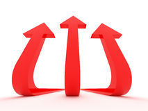 Arrow trident aiming high. Three red arrows aiming high. Rendered image Royalty Free Stock Images