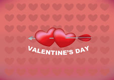 Arrow through two hearts design for Valentines day Royalty Free Stock Photography