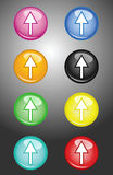Arrow Up. Eight Arrow Up multi colored  buttons Royalty Free Stock Images