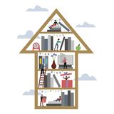 Arrow up book shelf library vector illustration. Arrow up book shelf library with people. Knowledge improvement metaphor. Flat style. Cartoon vector illustration royalty free illustration