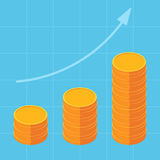 Arrow up and coins. Piles of coins with going up the graph, Arrow up. Concept for financial growth. Vector illustration isometric design Royalty Free Stock Photography