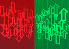 Arrow Up and Down Abstract Background Red Green. Stock Royalty Free Stock Image