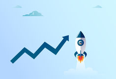 Arrow Up Finance Growth And Flying Space Ship New Stratup Strategy. Arrow Up Finance Growth And Flying Space Ship New Stratup Strategy Development Success Royalty Free Stock Photos