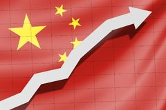 Arrow up on the flag of China as background. Development of the country Stock Images