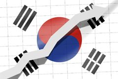 Arrow up on the flag of South Korea as background stock illustration