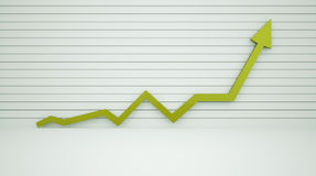 Arrow up with graph. Green Stock Image