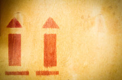 Arrow up icon on wooden board Royalty Free Stock Photo