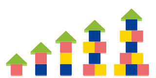 Arrow up shape of stack blocks, Creative toy blocks. Vector Illustration isolated on white background Stock Image